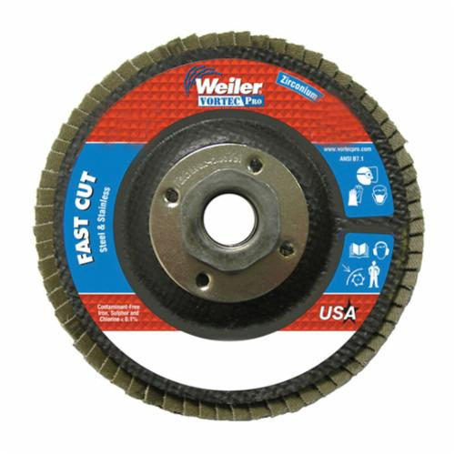Vortec Pro® Wolverine™ 31343 Fast Cut Coated Abrasive Flap Disc, 4-1/2 in Dia, 7/8 in Center Hole, 36 Grit, Very Coarse Grade, Zirconia Alumina Abrasive, Type 29/Angled Disc