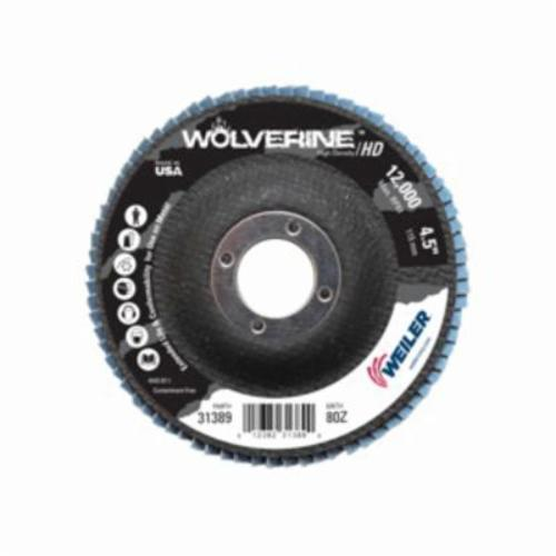 Vortec Pro® Wolverine™ 31389 Fast Cut High Density Coated Abrasive Flap Disc, 4-1/2 in Dia, 7/8 in Center Hole, 80 Grit, Medium Grade, Zirconia Alumina Abrasive, Type 27/Flat Disc