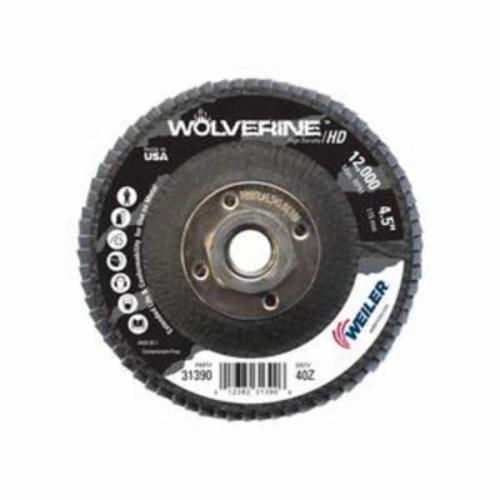 Vortec Pro® Wolverine™ 31390 Fast Cut High Density Coated Abrasive Flap Disc, 4-1/2 in Dia, 40 Grit, Coarse Grade, Zirconia Alumina Abrasive, Type 27/Flat Disc
