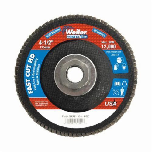 Vortec Pro® Wolverine™ 31391 Fast Cut High Density Coated Abrasive Flap Disc, 4-1/2 in Dia, 60 Grit, Medium Grade, Zirconia Alumina Abrasive, Type 27/Flat Disc