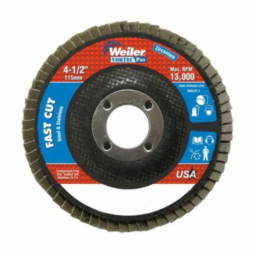 Vortec Pro® Wolverine™ 31403 Fast Cut Coated Abrasive Flap Disc, 4-1/2 in Dia, 7/8 in Center Hole, 60 Grit, Medium Grade, Zirconia Alumina Abrasive, Type 27/Flat Disc