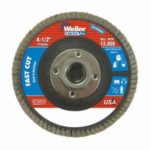 Vortec Pro® Wolverine™ 31408 Fast Cut Coated Abrasive Flap Disc, 4-1/2 in Dia, 40 Grit, Coarse Grade, Zirconia Alumina Abrasive, Type 27/Flat Disc