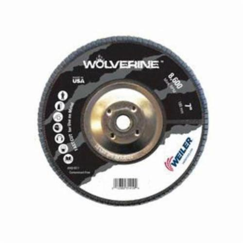 Vortec Pro® Wolverine™ 31422 Fast Cut Coated Abrasive Flap Disc, 7 in Dia, 80 Grit, Medium Grade, Zirconia Alumina Abrasive, Type 27/Flat Disc