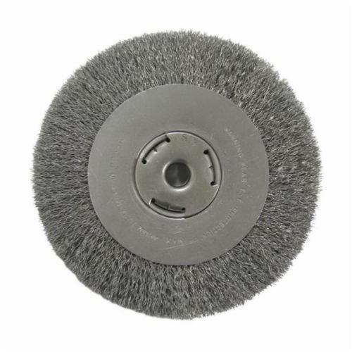 Vortec Pro® 36006 Wide Face Wheel Brush, 8 in Dia Brush, 1 in W Face, 0.014 in Dia Crimped Filament/Wire, 5/8 in Arbor Hole