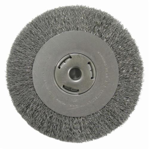Vortec Pro® 36065 Wide Face Wheel Brush, 10 in Dia Brush, 1-1/8 in W Face, 0.014 in Dia Crimped Filament/Wire, 3/4 in Arbor Hole
