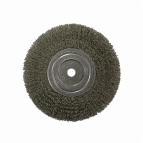 Vortec Pro® 36007 Narrow Face Wheel Brush With Nut, 4 in Dia Brush, 0.014 in Dia Crimped Filament/Wire, 5/8-11 Arbor Hole