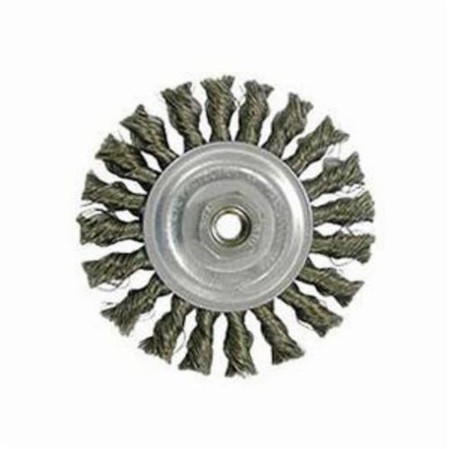 Vortec Pro® 36015 Wide Face Wheel Brush With Nut, 4 in Dia Brush, 0.014 in Dia Standard/Twist Knot Filament/Wire, M10x1.25 Arbor Hole