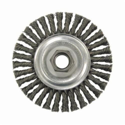 Vortec Pro® 36021 Narrow Face Wheel Brush With Nut, 4 in Dia Brush, 0.02 in Dia Stringer Bead Knot Filament/Wire, M10x1.25 Arbor Hole