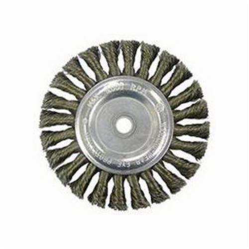 Vortec Pro® 36027 Wide Face Wheel Brush, 6 in Dia Brush, 0.014 in Dia Standard/Twist Knot Filament/Wire, 1/2 to 5/8 in Arbor Hole