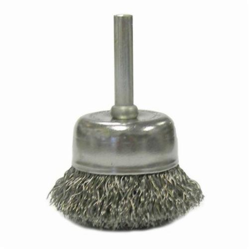 Vortec Pro® 36029 Stem Mounted Utility Cup Brush, 2 in Dia Brush, 0.0118 in Dia Filament/Wire, Crimped, Carbon Steel Fill