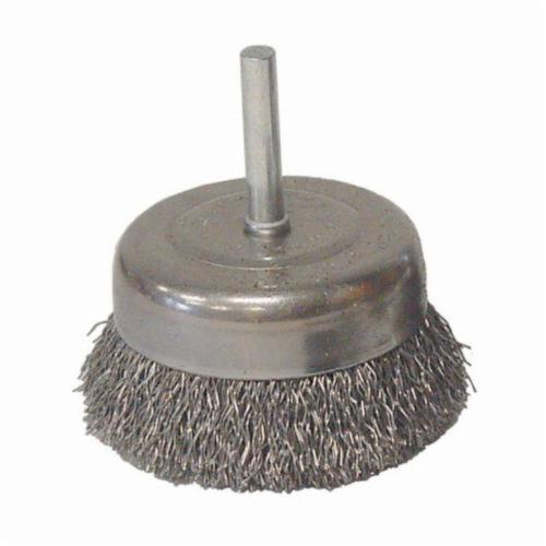 Vortec Pro® 36030 Stem Mounted Utility Cup Brush, 3 in Dia Brush, 0.014 in Dia Filament/Wire, Crimped, Carbon Steel Fill