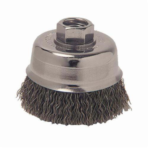 Vortec Pro® 36035 Cup Brush, 3 in Dia Brush, M14x2 Arbor Hole, 0.014 in Dia Filament/Wire, Crimped, Carbon Steel Fill