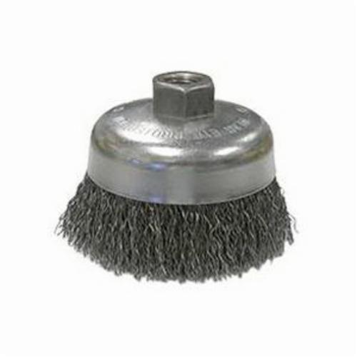 Vortec Pro® 36037 Cup Brush, 6 in Dia Brush, 5/8-11 UNC Arbor Hole, 0.02 in Dia Filament/Wire, Crimped, Carbon Steel Fill