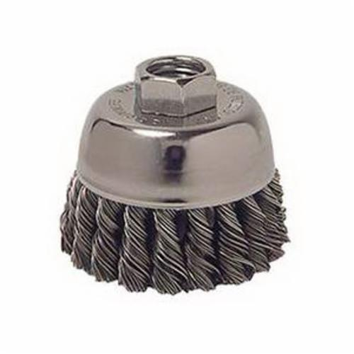 Vortec Pro® 36239 Single Row Cup Brush, 3 in Dia Brush, 5/8-11 UNC Arbor Hole, 0.02 in Dia Filament/Wire, Standard/Twist Knot, Stainless Steel Fill