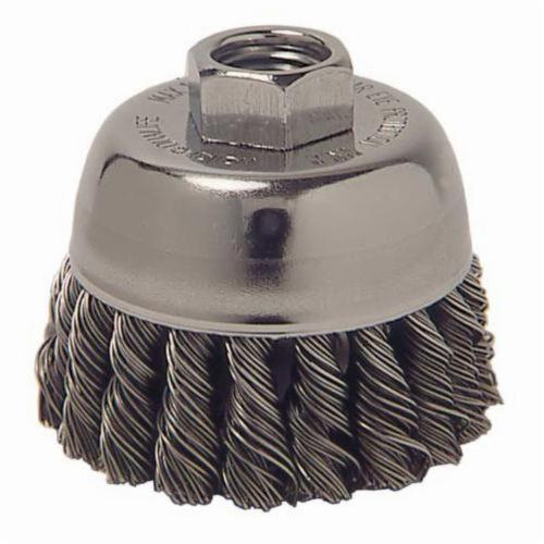 Vortec Pro® 36039 Single Row Cup Brush, 3 in Dia Brush, 5/8-11 UNC Arbor Hole, 0.02 in Dia Filament/Wire, Standard/Twist Knot, Stainless Steel Fill
