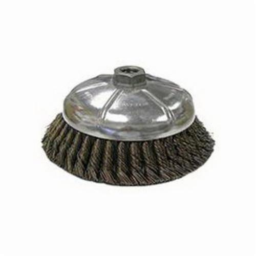 Vortec Pro® 36045 Single Row Cup Brush, 6 in Dia Brush, 5/8-11 UNC Arbor Hole, 0.025 in Dia Filament/Wire, Standard/Twist Knot, Carbon Steel Fill