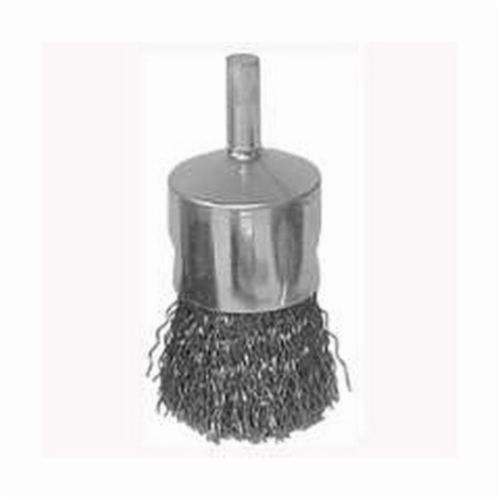 Vortec Pro® 36047 Stem Mount End Brush, 3/4 in, Crimped, 0.0104 in, Steel Fill, 7/8 in L Trim