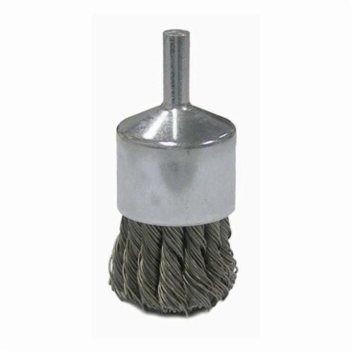 Vortec Pro® 36051 Stem Mount End Brush, 1 in, Knot, 0.02 in, Steel Fill, 7/8 in L Trim