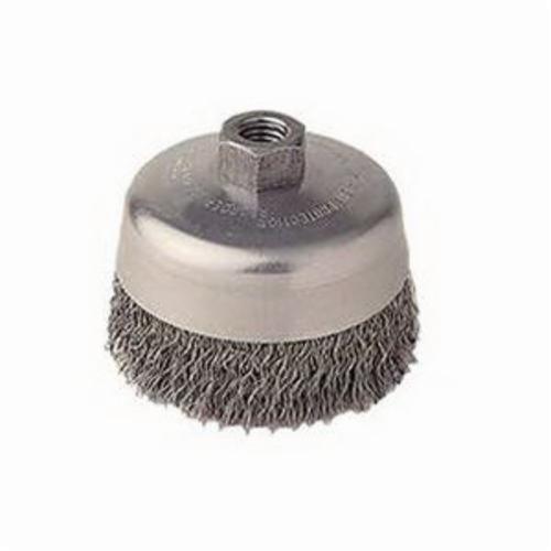 Vortec Pro® 36061 Cup Brush, 5 in Dia Brush, 5/8-11 UNC Arbor Hole, 0.02 in Dia Filament/Wire, Crimped, Carbon Steel Fill