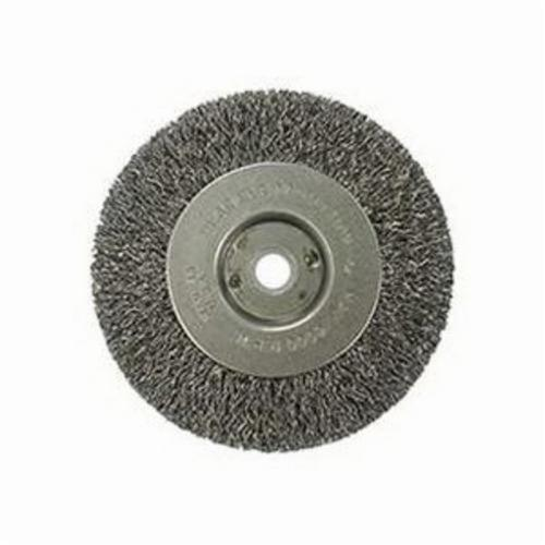 Vortec Pro® 36062 Narrow Face Wheel Brush, 4 in Dia Brush, 0.014 in Dia Crimped Filament/Wire, 1/2 to 3/8 in Arbor Hole