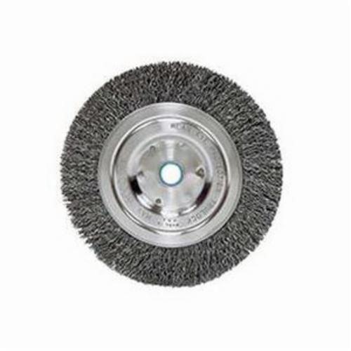 Vortec Pro® 36200 Narrow Face Wheel Brush, 6 in Dia Brush, 0.014 in Dia Crimped Filament/Wire, 1/2 to 5/8 in Arbor Hole
