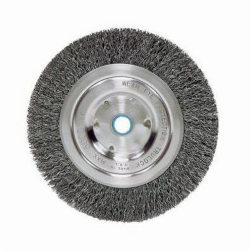 Vortec Pro® 36201 Narrow Face Wheel Brush, 6 in Dia Brush, 0.014 in Dia Crimped Filament/Wire, 1/2 to 5/8 in Arbor Hole