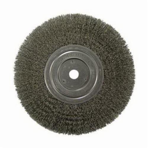 Vortec Pro® 36206 Wide Face Wheel Brush, 8 in Dia Brush, 1 in W Face, 0.014 in Dia Crimped Filament/Wire, 5/8 in Arbor Hole