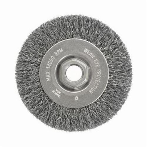 Vortec Pro® 36207 Narrow Face Wheel Brush With Nut, 4 in Dia Brush, 0.014 in Dia Crimped Filament/Wire, 5/8-11 Arbor Hole