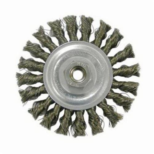 Vortec Pro® 36215 Wide Face Wheel Brush With Nut, 4 in Dia Brush, 0.014 in Dia Standard/Twist Knot Filament/Wire, M10x1.25 Arbor Hole