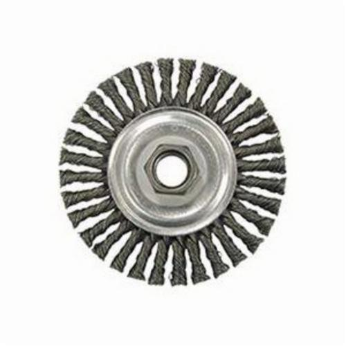 Vortec Pro® 36219 Narrow Face Wheel Brush With Nut, 4 in Dia Brush, 0.02 in Dia Stringer Bead Knot Filament/Wire, 5/8-11 Arbor Hole