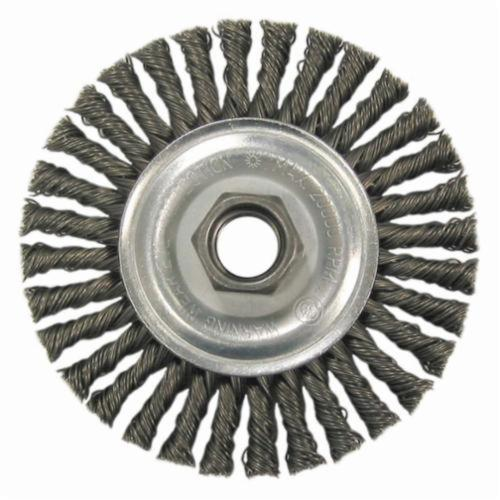 Vortec Pro® 36221 Narrow Face Wheel Brush With Nut, 4 in Dia Brush, 0.02 in Dia Stringer Bead Knot Filament/Wire, M10x1.25 Arbor Hole