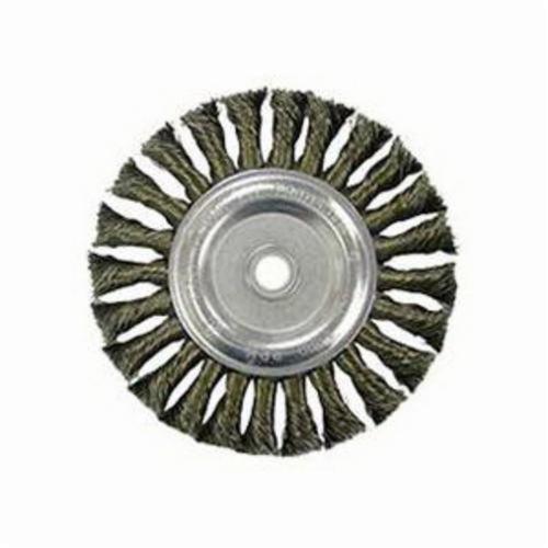 Vortec Pro® 36227 Wide Face Wheel Brush, 6 in Dia Brush, 0.014 in Dia Standard/Twist Knot Filament/Wire, 1/2 to 5/8 in Arbor Hole