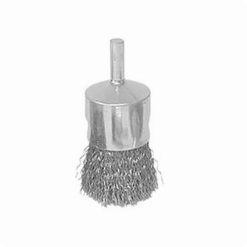Vortec Pro® 36247 Stem Mount End Brush, 3/4 in, Crimped, 0.0104 in, Steel Fill, 7/8 in L Trim