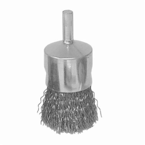 Vortec Pro® 36283 Stem Mount End Brush, 3/4 in, Crimped, 0.006 in, Stainless Steel Fill, 7/8 in L Trim