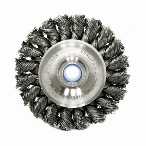 Vortec Pro® 36293 Wide Face Wheel Brush, 4 in Dia Brush, 0.014 in Dia Standard/Twist Knot Filament/Wire, 1/2 to 3/8 in Arbor Hole