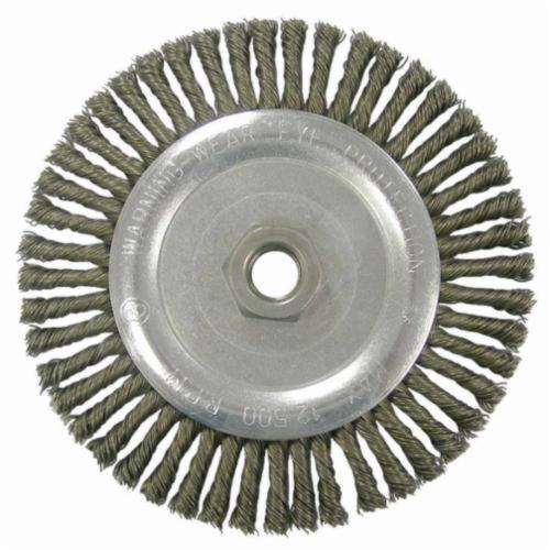 Vortec Pro® 36295 Narrow Face Wheel Brush With Nut, 5 in Dia Brush, 0.02 in Dia Stringer Bead Knot Filament/Wire, 5/8-11 Arbor Hole