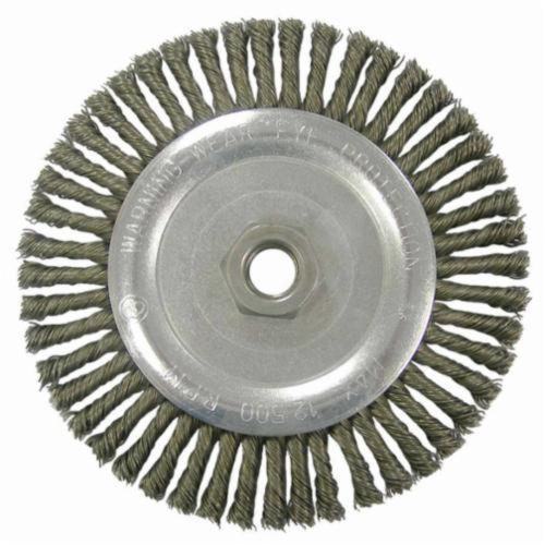 Vortec Pro® 36307 Narrow Face Wheel Brush With Nut, 6-7/8 in Dia Brush, 0.02 in Dia Stringer Bead Knot Filament/Wire, 5/8-11 Arbor Hole