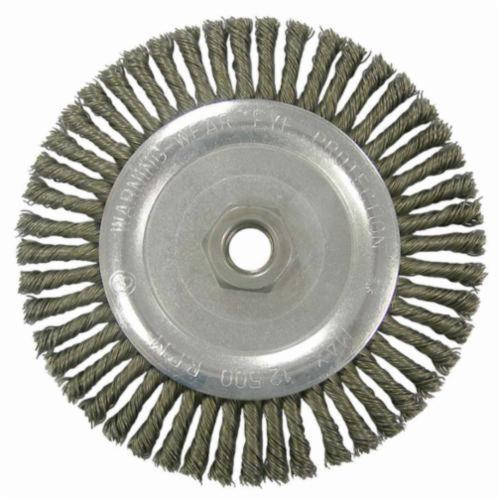 Vortec Pro® 36298 Narrow Face Wheel Brush With Nut, 6-7/8 in Dia Brush, 0.02 in Dia Stringer Bead Knot Filament/Wire, 5/8-11 Arbor Hole