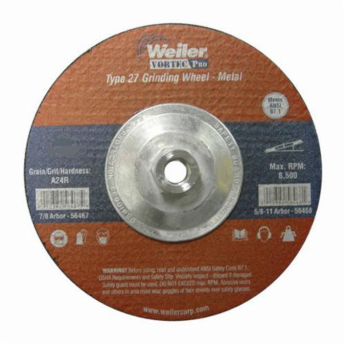 Vortec Pro®Wolverine™ 56279 Type 27 Cut-Off Wheel, 6 in Dia x 1/4 in THK, 5/8 in Center Hole, A24R Grit, Aluminum Oxide Abrasive