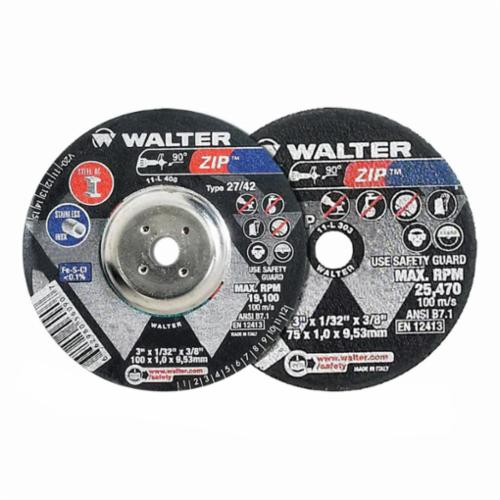 Walter Surface Technologies Zip™ 11T042 Zip™ High Performance Thin Cut-Off Wheel, 4-1/2 in Dia x 3/64 in THK, 7/8 in Center Hole, A-60-ZIP Grit, Aluminum Oxide Abrasive