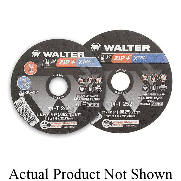Walter Surface Technologies ZIP+XTRA™ 11T252 High Performance Cut-Off Wheel, 5 in Dia x 1/16 in THK, 7/8 in Center Hole, A-46-ZIP Grit, Aluminum Oxide Abrasive