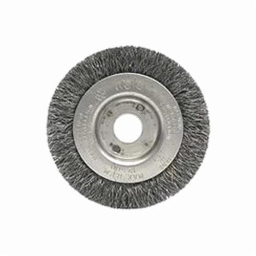 Weiler® 00244 Narrow Face Wheel Brush, 3 in Dia Brush, 7/16 in W Face, 0.006 in Dia Crimped Filament/Wire, 1/2 to 3/8 in Arbor Hole