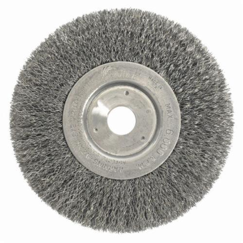 Weiler® 01068 Narrow Face Wheel Brush, 6 in Dia Brush, 3/4 in W Face, 0.0118 in Dia Crimped Filament/Wire, 3/4 in Arbor Hole
