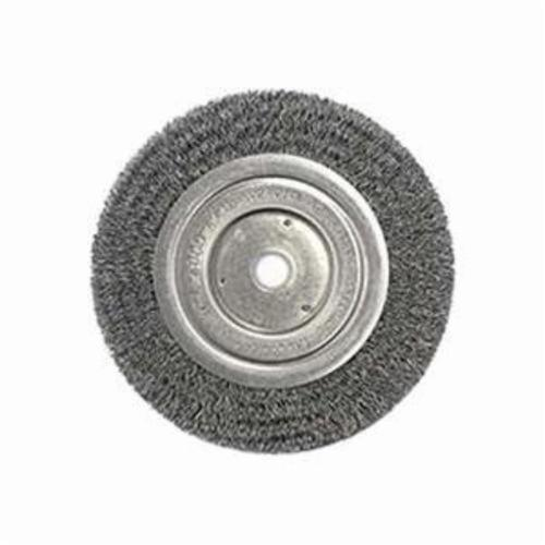 Weiler® 01095 Narrow Face Wheel Brush, 6 in Dia Brush, 1/2 in W Face, 0.008 in Dia Crimped Filament/Wire, 1/2 to 5/8 in Arbor Hole