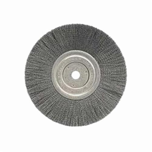 Weiler® 01145 Narrow Face Wheel Brush, 8 in Dia Brush, 3/4 in W Face, 0.008 in Dia Crimped Filament/Wire, 5/8 in Arbor Hole