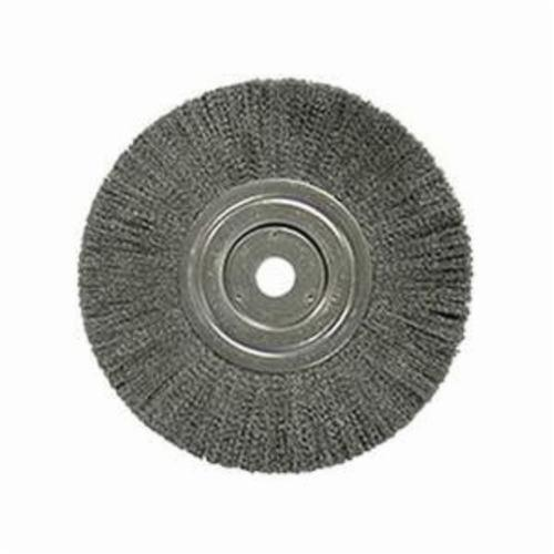 Weiler® 01138 Narrow Face Wheel Brush, 8 in Dia Brush, 3/4 in W Face, 0.006 in Dia Crimped Filament/Wire, 3/4 in Arbor Hole