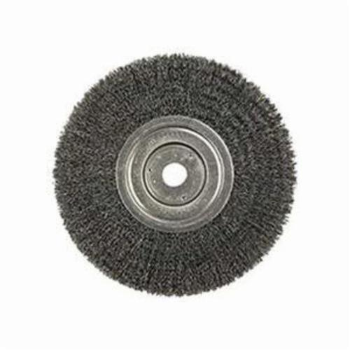 Weiler® 01158 Narrow Face Wheel Brush, 8 in Dia Brush, 3/4 in W Face, 0.0104 in Dia Crimped Filament/Wire, 3/4 in Arbor Hole