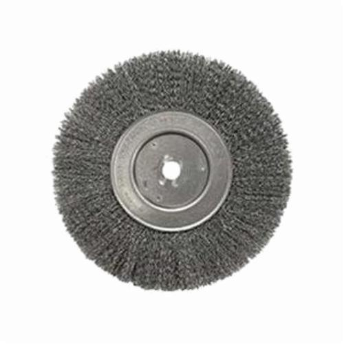 Weiler® 01228 Narrow Face Wheel Brush, 10 in Dia Brush, 3/4 in W Face, 0.006 in Dia Crimped Filament/Wire, 3/4 in Arbor Hole