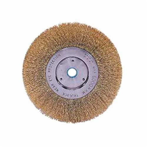 Weiler® 01475 Narrow Face Non-Sparking Wheel Brush, 6 in Dia Brush, 1/2 in W Face, 0.0118 in Dia Crimped Filament/Wire, 1/2 to 5/8 in Arbor Hole