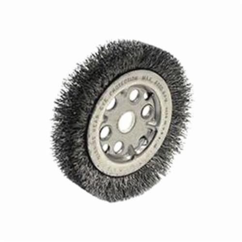 Weiler® 01501 High Density Medium Face Wheel Brush, 4-1/4 in Dia Brush, 3/4 in W Face, 0.0118 in Dia Crimped Filament/Wire, 1/2 to 5/8 in Arbor Hole